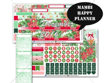 Christmas MONTHLY Planner Kit, Happy Planner Stickers, Mambi Stickers, Monthly Sticker Kit, Winter Stickers, Holiday Stickers #SQ00186-MHP