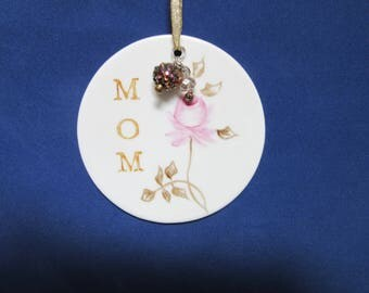 Mom Gift Tag Ornament Hand Painted Porcelain Ceramic Pottery BLM