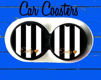 Monogrammed Car Coaster,Black and White Stripe, Cup Holder Coasters,Monogrammed car coaster,Personalized Coaster, Gift, Party Gift