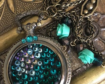 Turquoise and bronze rescued watch pendant