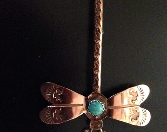 Dragonfly Pin/Brooch in Copper with Turquoise-Hued Stone Inset