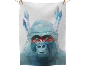Gorilla Feathers Tea Towel