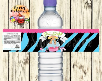 Printable Birthday Spa water bottle label /zebra/sleep over