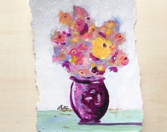 Flowers Wall Decor Painting Home Decor Gift Idea Original Painting Gift For Mom Impressionist Flower Vase Painting Wall Art Abstract Art
