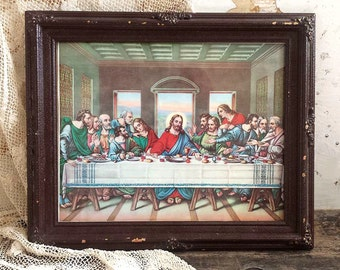 vintage last supper framed print amazing authentic rustic old heavy chippy frame last supper picture wall hanging catholic art decor