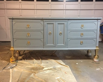 Navy and gold dipped Mid Century Modern Dresser, Credenza, Tv stand