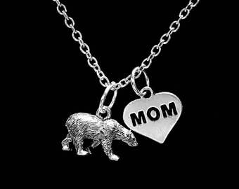 Gift For Mom, Polar Bear Necklace, Animal Necklace, Mother Gift, Sister Gift, Mom Gift, Mama Bear Mother's Day Gift Necklace