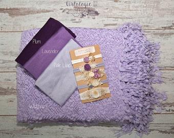 Lilac Popcorn Backdrop Blanket* BUNDLE *Wraps *Newborn Posing Blanket *Beanbag Posing Fabric *Photo Prop *Backdrop Fabric*Tieback Set
