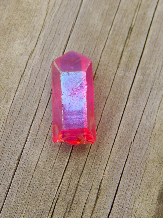 Magenta Aura Quartz Point Titanium Coated Quartz Crystal