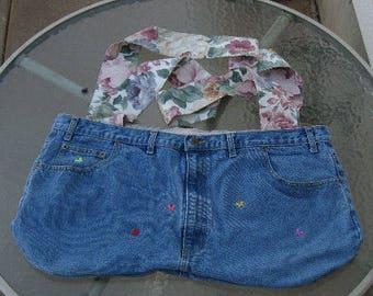 Large denim tote, market grocery bag, cross body tote bag, beach bag, messenger bag, repurposed denim, recycled blue jeans, denim jeans tote