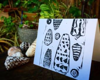 Seashell block print, cone sea shell original print, hebrew cone shell, leopard cone shell, strited cone, flea cone shell greeting card