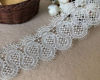 White Lace Trim, Wedding Lace Trim, Venice Lace Trim For Bridal,Hollowed Out Lace Trim By The Yard, Gorgeous