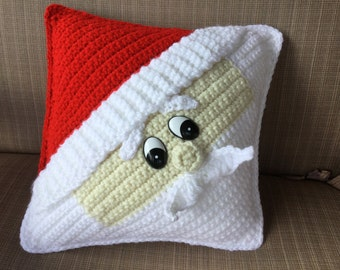 Decorative Santa Pillow Crochet Tutorial - Pere Noel Pattern - Crochet Cushion - Instant Download PDF - Santa Claus Christmas Decor