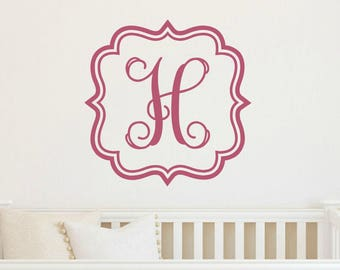Kids Wall Decal Initial Wall Decal Monogram Wall Decal Girl Bedroom Decal Teen bedroom Decal Girl Nursery Decal Initial Decal Monogram