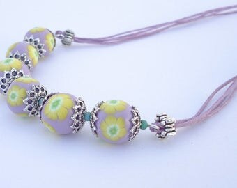 Polymer clay bead necklace- yellow flowers necklace- unique handmade jewelry lilac and yellow- millefiori necklace - statement bead necklace