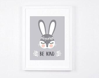 Grey and Peach Nursery Printable Art, Be Kind Bunny Nursery Print, Woodland Crown Bunny, Scandinavian Nursery, Rabbit Instant Download Art