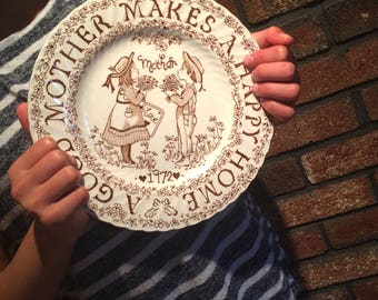 Mother's Day Gift, A Tribute to Mother All Year Long, Home Decor Collector Plate, Crawford China Company Norma Sherman England