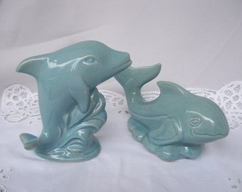 2 Blue Ceramic Dolphins,K's Collection,Made in Brazil,Dolphins with Waves,Dolphin Figurines,Beach Decor,Ocean Creatures