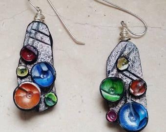 Earrings, polymer clay, unique, handmade, original design