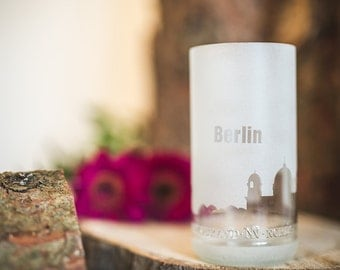 Candle glass with skyline / / skyline candle glass
