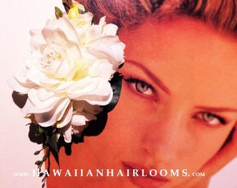WHITE FLOWER HAIR clip- Tropical flowers hair,Silk flowers,Gardenia,White orchids,Tuberose,Bridals,Beach weddings,Hula,Pinups flowers,Hawaii
