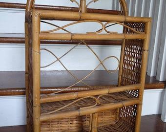 Large Vintage Wicker Rattan U0026 Bamboo Wall Or Tabletop Shelf