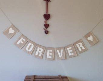 Vintabe Wedding Bunting Banner. FOREVER. Hessian Burlap Rustic