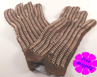 Vintage Crocheted Gloves-Falbala//Demure//1950s//Brown//Beige