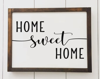 Home Sweet Home // Framed Wood Sign // Farmhouse Decor // Rustic Wood Sign // Farmhouse Sign // Gifts for Her