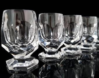 Cut Crystal Shot Glasses, Set of 6 / Mid Century Barware, Bar Cart Accessories