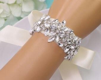 Rhinestone Crystal Bridal bracelet, Applique wedding bracelet, rhinestone crystal bracelet, crystal bracelet, bridal bracelet 500230210