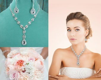Crystal Rhinestone Teardrop Jewelry Set, Crystal Wedding Necklace Set, bridal jewelry set, jewelry set, bridesmaid jewelry set 210708062