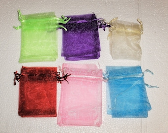5 Organza Bags. Ideal for Gifts Wedding Favours Hen Night Party Baby Shower. Sold empty in packs of 5. Blue Pink Cream Red Purple Lime Green