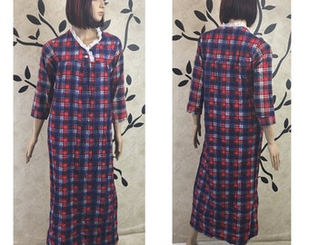 Cotton nightgown, Long sleeve nightgown, Flannel nightgown, Warm nightgown, Women's nightgown, Size small nightgown
