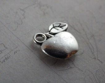 4 /10 x Apple Charms BULK (10x10mm), Silver Fruit Charms, Metal Bracelet Charms Pendants, Jewelry Making Supplies, Card Making, UK Seller