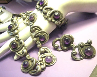 Mid Century Sterling Silver Jewelry Set with Amethyst Necklace Bracelet Earrings Made in Mexico