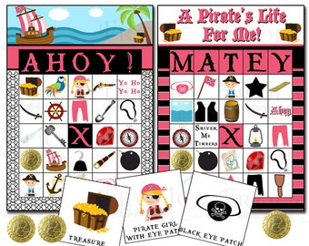 Pirate Girl bingo 20 printable cards INSTANT DOWNLOAD