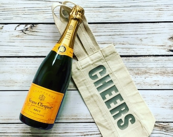 Cheers Canvas Wine Bag // Wine Gift // Custom Wine Bag // Hostess Gift // Housewarming Gift