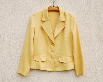 Vintage Womens Silk Blazer Pale Yellow Silk Jacket Mod Minimalist Yellow Blazer Long Sleeves  Medium Size
