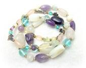 Quartz Amethyst Stone Nugget Beaded Necklace - Vintage 70s Boho Jewelry