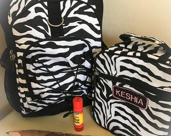 LARGE Zebra Teen Monogrammed Backpack with Matching Lunchbox