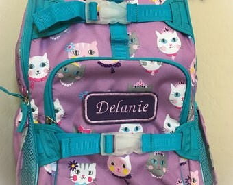 Personalized Monogrammed Lavender Kitty Rolling Backpack Bag Pottery Barn