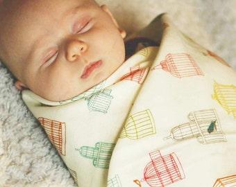Baby Shower Gift, Organic Swaddle Blanket, Bird Cage, Organic Swaddle, LIghtweight Receiving Blanket, Bird Baby Blanket, Newborn Essentials