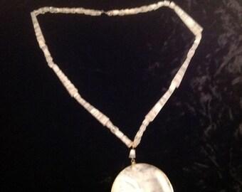65% Off Sale Vintage White Acrylic Necklace / Pendant. - Circa 1960's - 1970's
