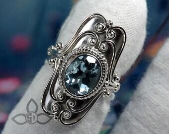 Blue Topaz Ring, Topaz Stone Ring, 925 Sterling Silver Ring, Handmade Ring, Topaz Silver Ring, Officewear Ring, Partywear Ring, Women Gift