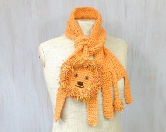Lion scarf, animal scarf, orange neckwarmer, crochet shawl, for kids, for animal lovers, winter gift, African animal, whimsical lion