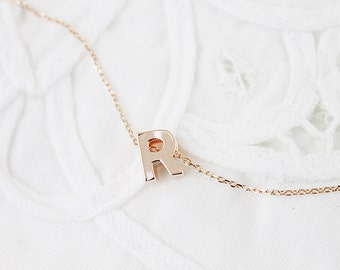 Rose Gold Uppercase Initial Necklace Alphabet Necklace Rose Gold Letter Necklace Bridesmaid Gift