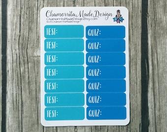 Test Planner Stickers | Quiz Planner Sticker Mini Sheet | Happy Planner | Planner Stickers | Mini Happy Planner | Test Quiz School Stickers