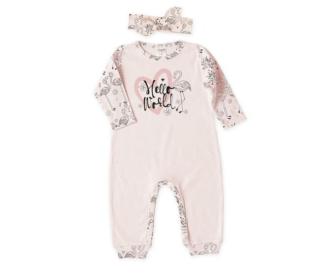 Newborn Girl Outfit, Baby Girl Coming Home Outfit, Take Home Romper Headband, Long Sleeve, Pink Flamingo, Hello World Tesababe RH810BHFL0367
