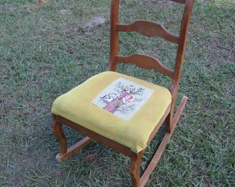 Vintage ornate wood rocking chair, wood chair, antique chair